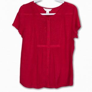 🔴 Christopher & Banks Embroidered Top,